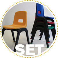 D130 Set of 4 Stackable School Chairs, 12